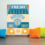 Fresh Drinks Everyday Juice Coffee Tea Sticker