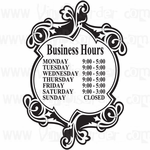 Custom Calligraphic Store Business Hours Decal