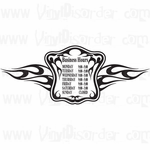 Custom Flaming Store Business Hours Decal