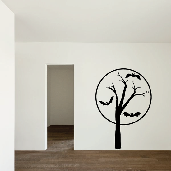 Tree with Bats and Large Moon Decal