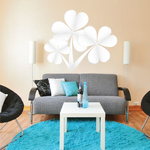 3 Leaf Clovers St Patrick's Day White Clovers Printed Die Cut Decal