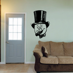 Cartoon Pig with Top Hat and Cigarette Decal