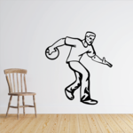 Bowling Man Holding Ball Decal