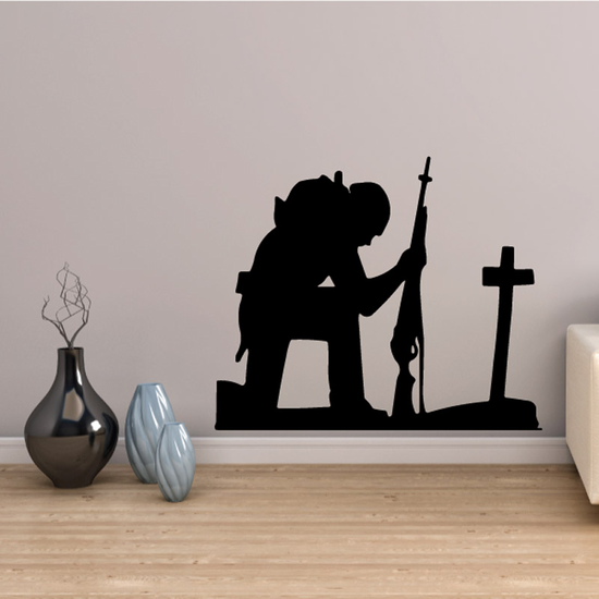 Soldier Holding Rifle Praying Decal
