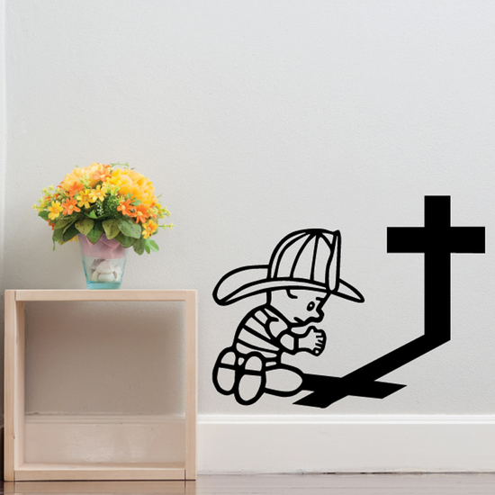 Firefighter Praying Decal