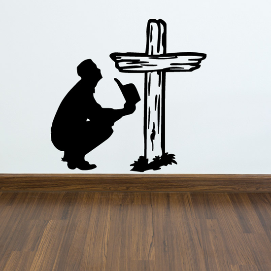 Praying to Wooden Cross Decal