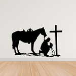 Cowboy off horse Praying Decal