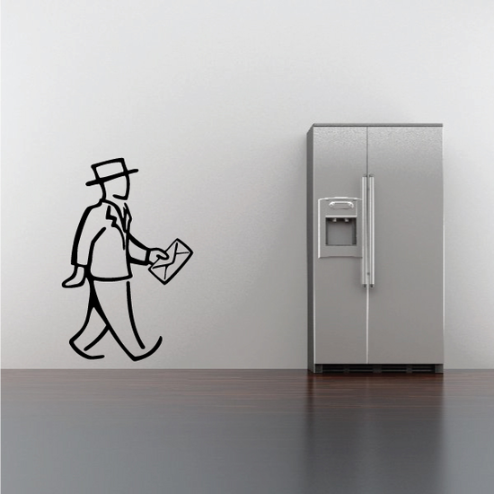 Man With Envelope Wall Decal - Vinyl Decal - Car Decal - Business Decal - MC32