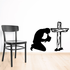 Kneeling Before a wooden Cross Decal