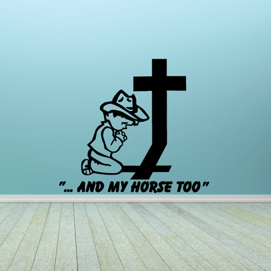 Cowboy Praying about his horse Decal