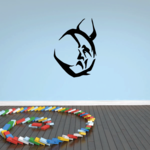 Down Moon with Horns Decal