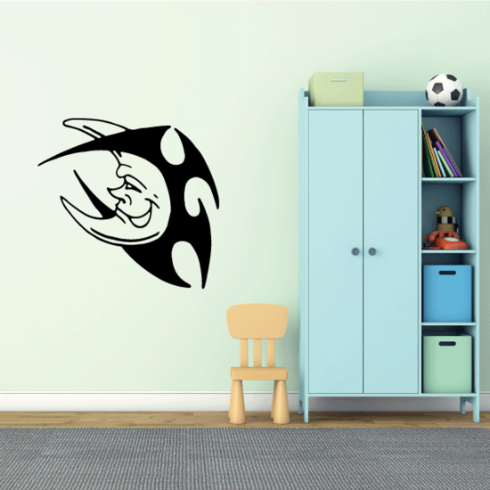 Smiling Tribal Moon Decal