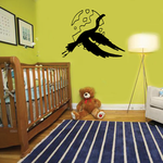 Egret Flying and Moon Decal