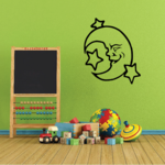 Smiling Moon and Stars Decal