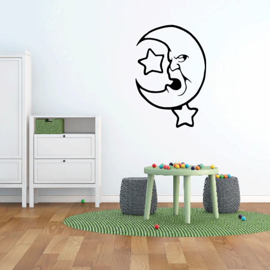 Snoring Moon and Stars Decal