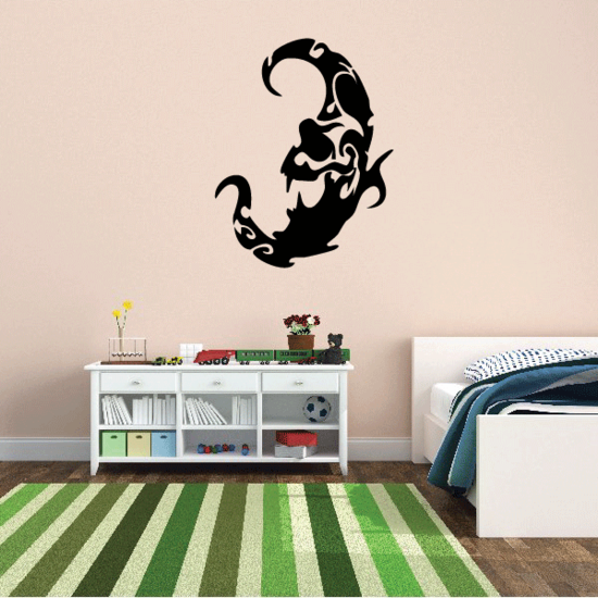 Tribal Swirl Moon Decal