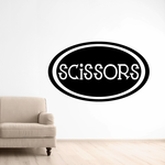 Scissors Oval Decal