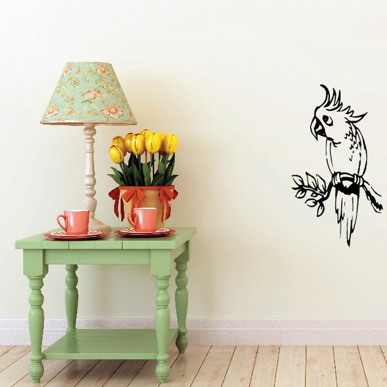 Parrot on Leafy Branch Decal