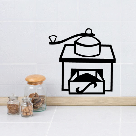 Coffee Grinder with Grounds Decal