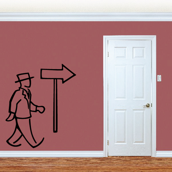 Man And Sign Wall Decal - Vinyl Decal - Car Decal - Business Decal - MC34