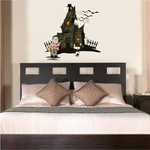 Haunted House with Monsters Printed Die Cut Decal