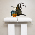 Haunted House with Tombstone Printed Die Cut Decal