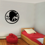 Girl Sitting in the moon Decal