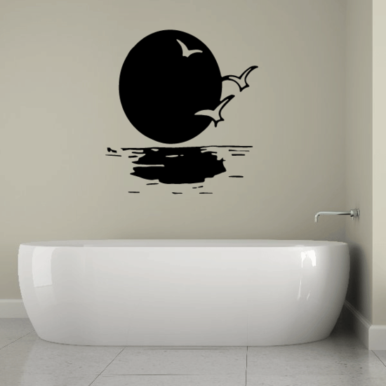 Moon rising over the Water Decal