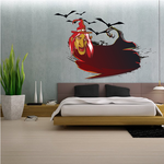 Witch with Bats Printed Die Cut Decal