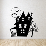 Haunted House with Porch and Tree Decal