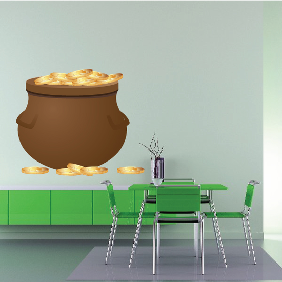 Pot of Gold St Patrick's Day Printed Die Cut Decal