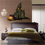 Spooky Haunted House with Pumpkin Sticker