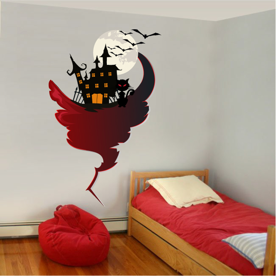 Haunted House Black Cat and Bats Sticker