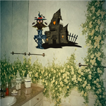 Haunted House with Owl and Tombstone Sticker