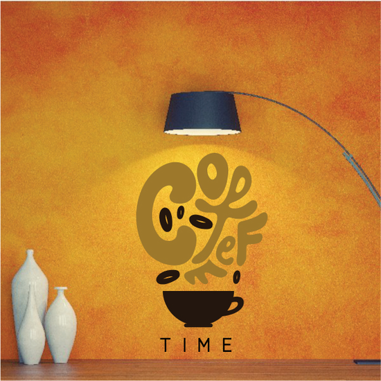 Coffee Time Lettering Printed Decal