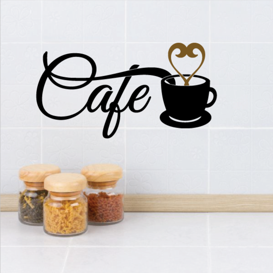 Cafe Coffee Heart Decal
