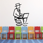 Man With Laptop Wall Decal - Vinyl Decal - Car Decal - Business Decal - MC36