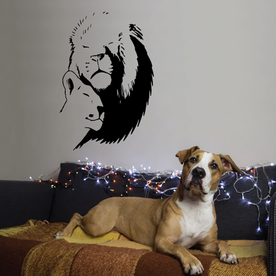Lion and Lioness Cuddling Decal