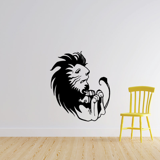 Curled Up Lion Decal