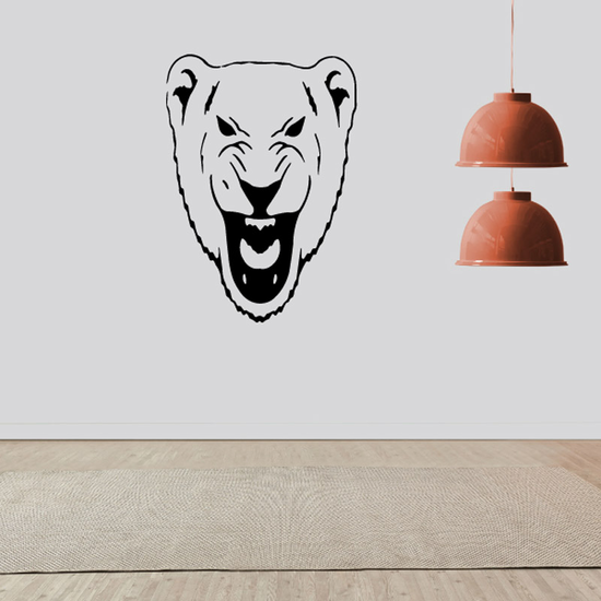 Scowling Lioness Head Decal