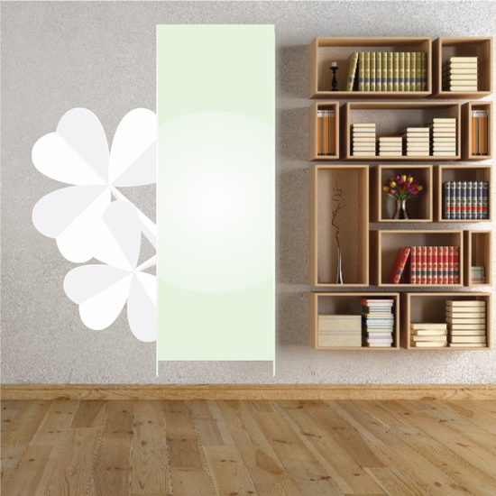Vertical Banner with White 3 Leaf Clovers St Patrick's Day Printed Die Cut Decal