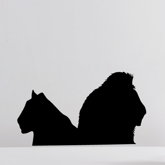 Lion and Lioness Facing Away Decal