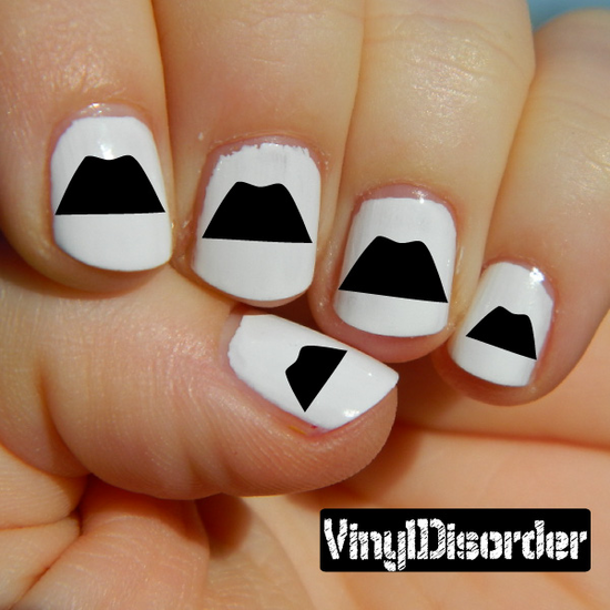 Mustache Finger Nail Art Vinyl Decal Sticker KC009