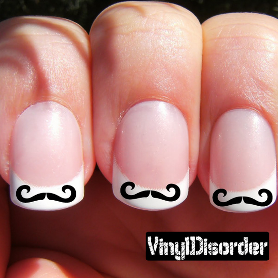 Mustache Finger Nail Art Vinyl Decal Sticker KC017