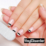 Mustache Finger Nail Art Vinyl Decal Sticker KC019