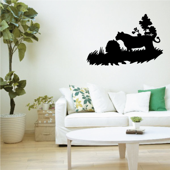 Lion and Lioness Nature Scene Decal