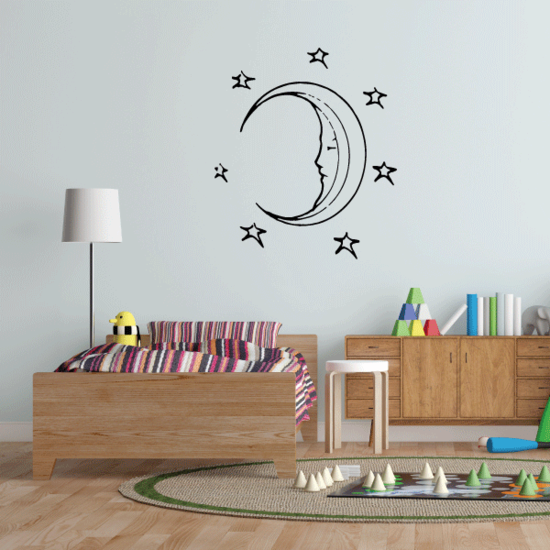 Moon surrounded by stars Decal