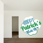 Happy St Patrick's Day White Clover Sticker