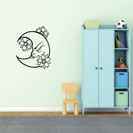 Girl Moon with Flowers Decal