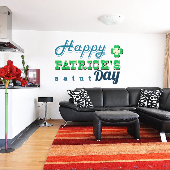 Happy Patrick's Saint Day St Patrick's Day Typography Printed Die Cut Decal